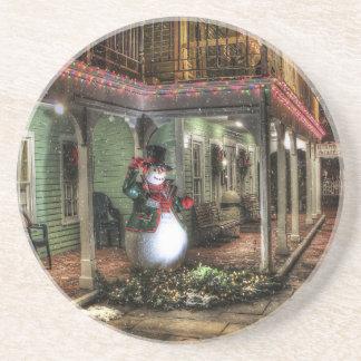 Snowman Greetings Beverage Coaster