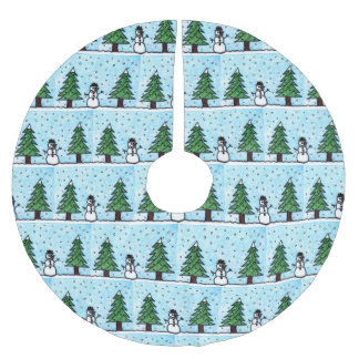 Snowman Greetings Brushed Polyester Tree Skirt