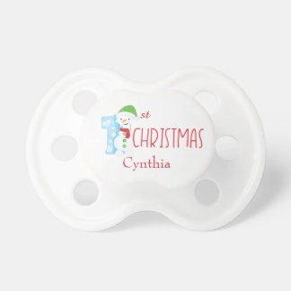 Snowman greetings First Christmas Baby Pacifiers