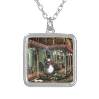 Snowman Greetings Silver Plated Necklace