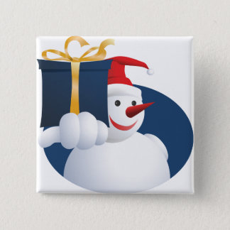 Snowman hands over gift... 2 inch square button