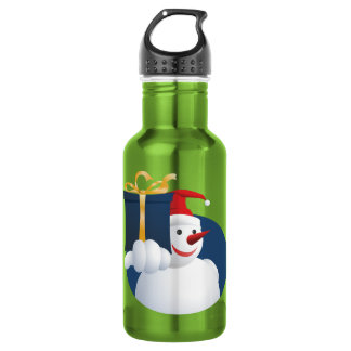 Snowman hands over gift... 532 ml water bottle