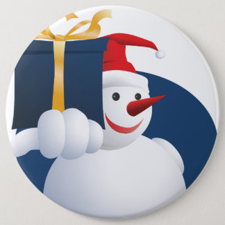 Snowman hands over gift... 6 inch round button