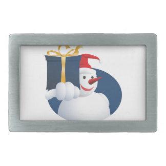 Snowman hands over gift... belt buckle