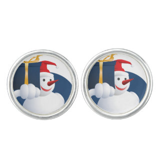Snowman hands over gift... cuff links