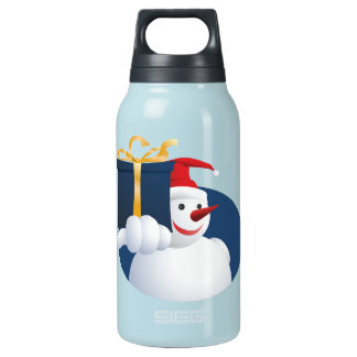 Snowman hands over gift... insulated water bottle