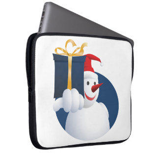 Snowman hands over gift... laptop sleeve