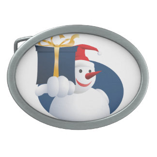 Snowman hands over gift... oval belt buckle