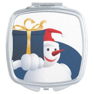 Snowman hands over gift... vanity mirrors