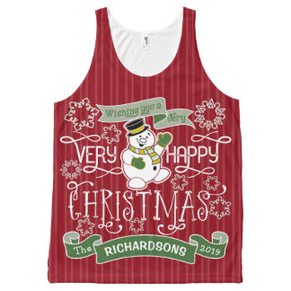 Snowman Happy Christmas Typography Custom Banner All-Over-Print Tank Top