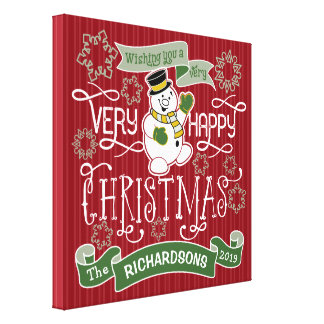 Snowman Happy Christmas Typography Custom Banner Canvas Print