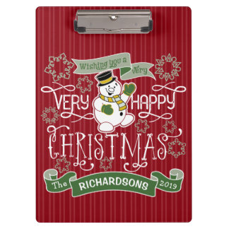 Snowman Happy Christmas Typography Custom Banner Clipboard