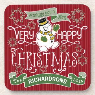 Snowman Happy Christmas Typography Custom Banner Coaster