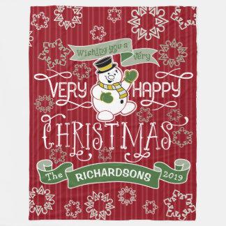 Snowman Happy Christmas Typography Custom Banner Fleece Blanket