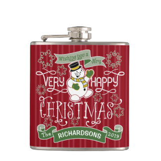 Snowman Happy Christmas Typography Custom Banner Hip Flask