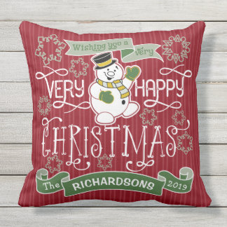 Snowman Happy Christmas Typography Custom Banner Outdoor Pillow