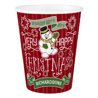 Snowman Happy Christmas Typography Custom Banner Paper Cup
