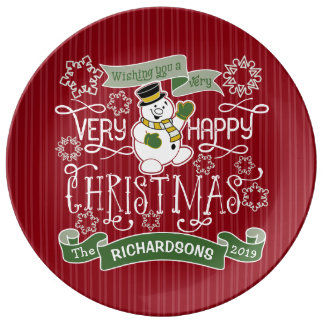 Snowman Happy Christmas Typography Custom Banner Plate