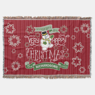 Snowman Happy Christmas Typography Custom Banner Throw Blanket