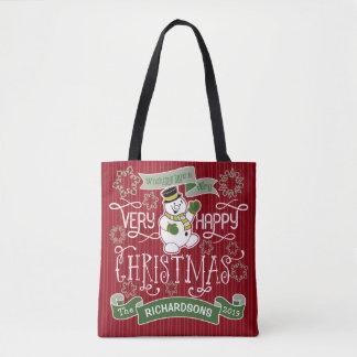 Snowman Happy Christmas Typography Custom Banner Tote Bag