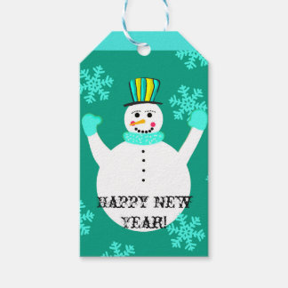 Snowman Happy New Year Custom Gift Tags