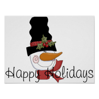 Snowman Head w/Hat - Happy Holidays Print