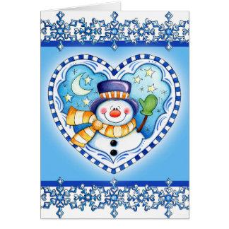 Snowman Heart - Greeting Card