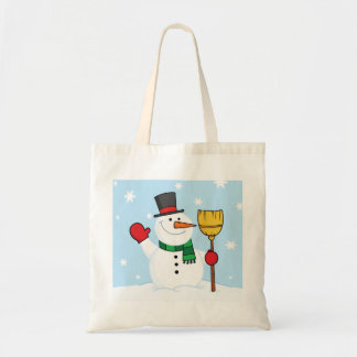 Snowman Holding A Broom Tote Bag