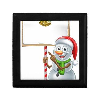 Snowman Holding Christmas Sign Keepsake Box