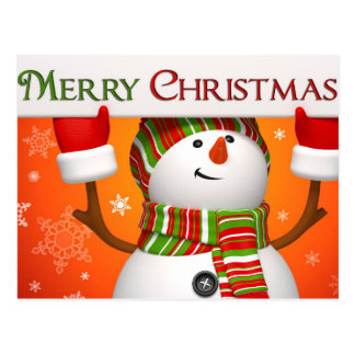 Snowman Holding Merry Christmas Sign Postcard