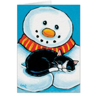Snowman Holding Sleeping Tuxedo Cat Painting Card