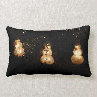 Snowman Holiday Light Display Lumbar Pillow