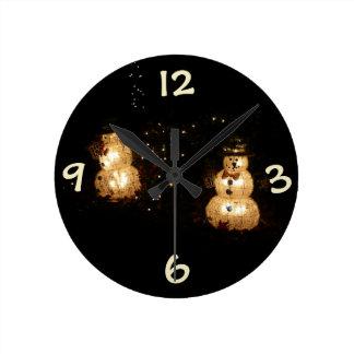 Snowman Holiday Light Display Round Clock