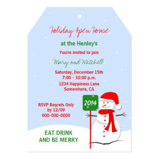 Snowman Holiday Open House Invitation