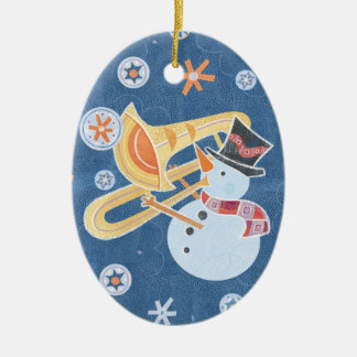 Snowman Horn Making Xmas Holiday Music Ceramic Oval Ornament