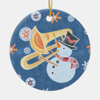 Snowman Horn Making Xmas Holiday Music Round Ceramic Ornament