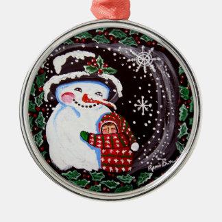 Snowman Hug Round Ornament