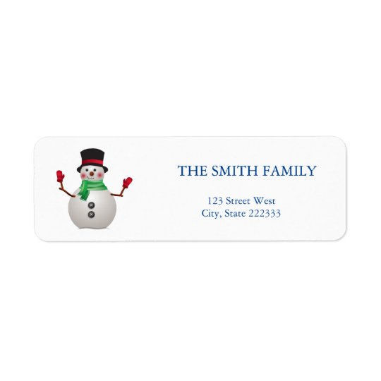 Snowman  ı Holiday mail label Return Address Label