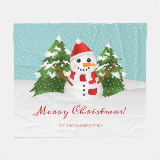 Snowman Illustration Custom Family Name Christmas Fleece Blanket