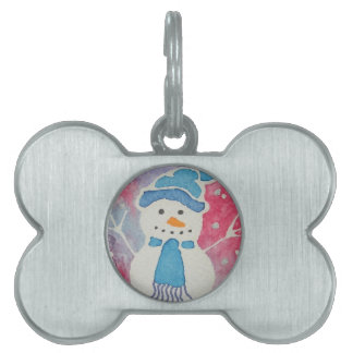 snowman in a wooly hat pet tag