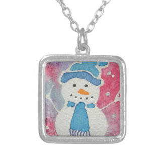 snowman in a wooly hat silver plated necklace