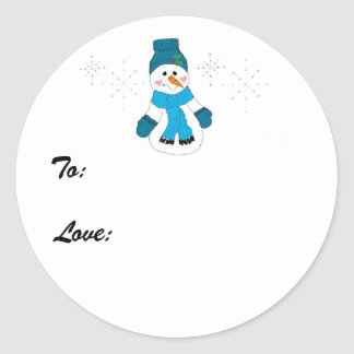 Snowman in Blue Classic Round Sticker