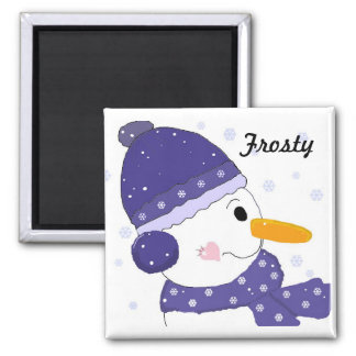 Snowman in Blue Hat and Scarf Magnet