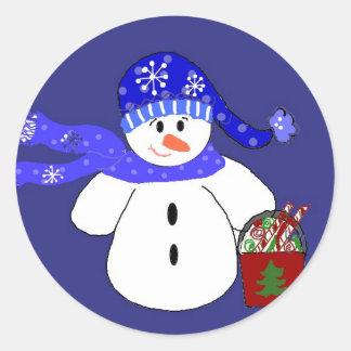 Snowman in Blue Round Sticker