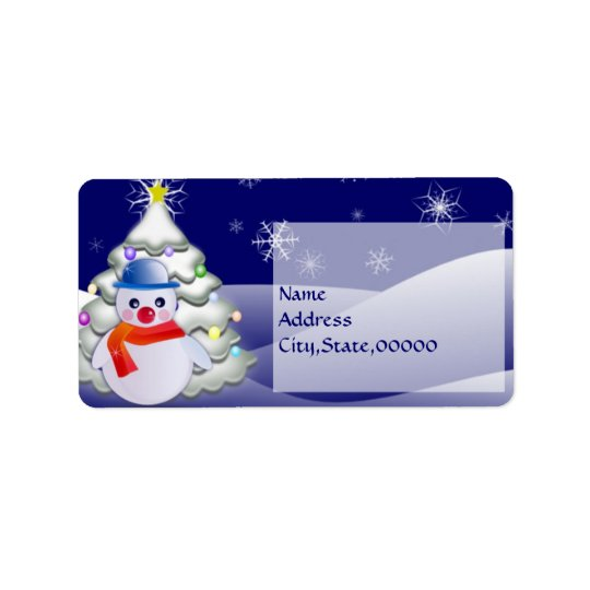 Snowman in Christmas Night Label