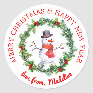 Snowman In Christmas Wreath Classic Round Sticker