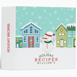 Snowman In Cute Village Christmas Recipes Vinyl Binders