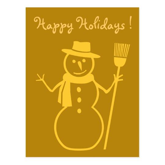 snowman in dark gold postcard