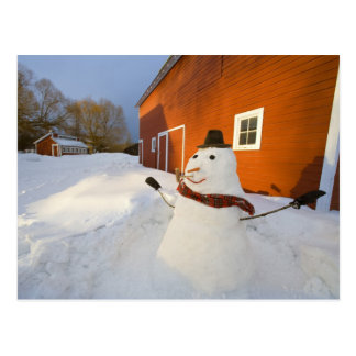 Snowman in front of red barn in Columbia Falls Postcard