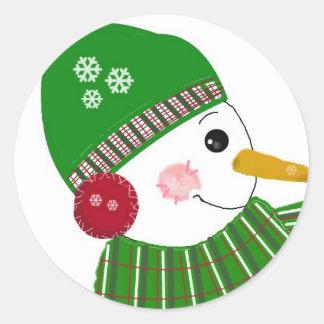 Snowman in Green Hat and Scarf Round Sticker